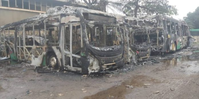 Four Aayalolo buses burnt completely by fire in Kumasi