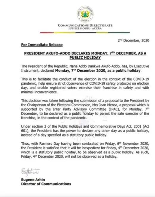 rez Akufo Addo Declares December 7 As A Public Holiday
