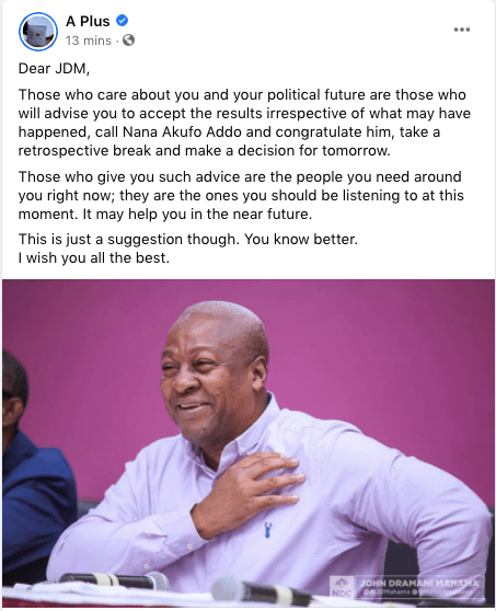 Mahama should concede defeat – Kwame A Plus