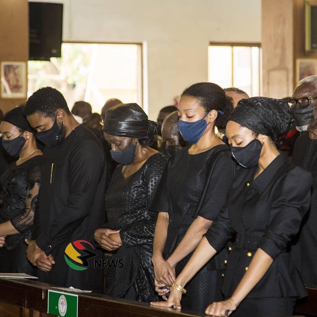 Photos of Rawlings' Children, Wife, Prez Akufo-Addo, Mahama, others at his Requiem Mass. Yesterday was the beginning