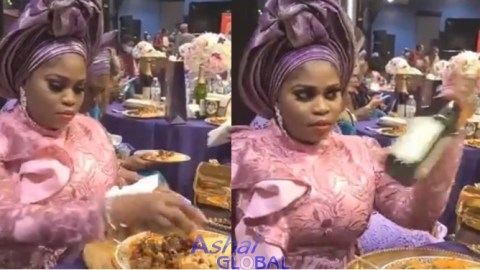 Video: Woman Caught On Camera 'Stealing' Drinks, Meat, Food Items At Friend's Wedding