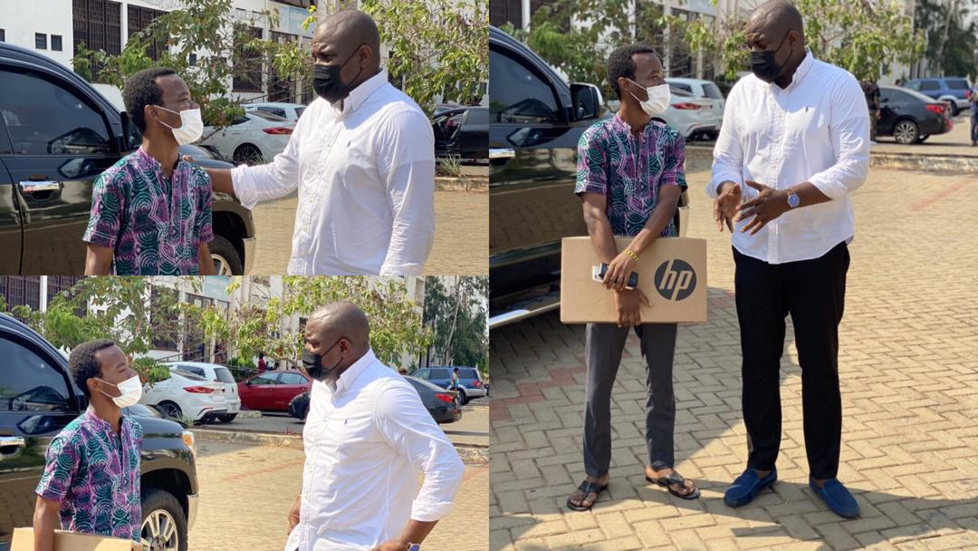 John Dumelo donates laptop to University student even after losing in the 2020 election