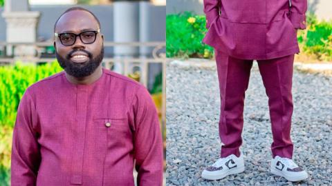 Ghanaians react wildly to trending photo of NDC's Otokunor clad in kaftan and sneakers