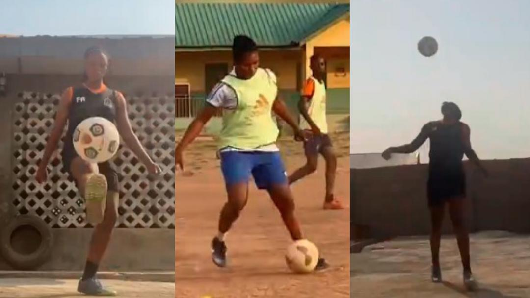 Lady showcase her special football skills on social media; calls for support intensify