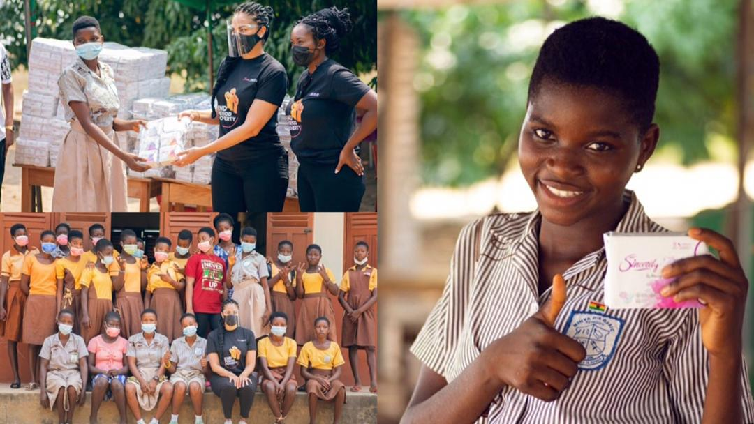 Tracy Sarkcess, Menaye Donkor provides free sanitary pads to girls in underprivileged areas in Ghana