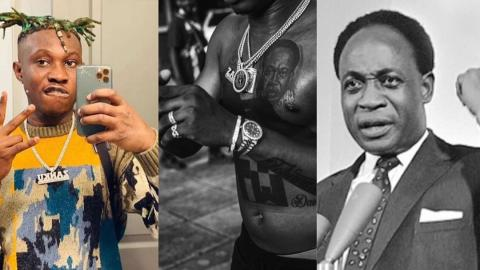 Nigerian singer Zlatan Ibile gets tattoo of Ghana's first president, Kwame Nkrumah on his chest
