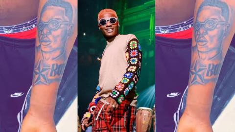 Wizkid reacts to fan who has tattooed his face on his arm