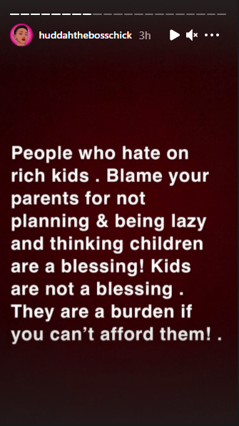"""""""Blame your lazy parents if you were born poor and stop hating rich kids""""- Huddah Monroe 2"""