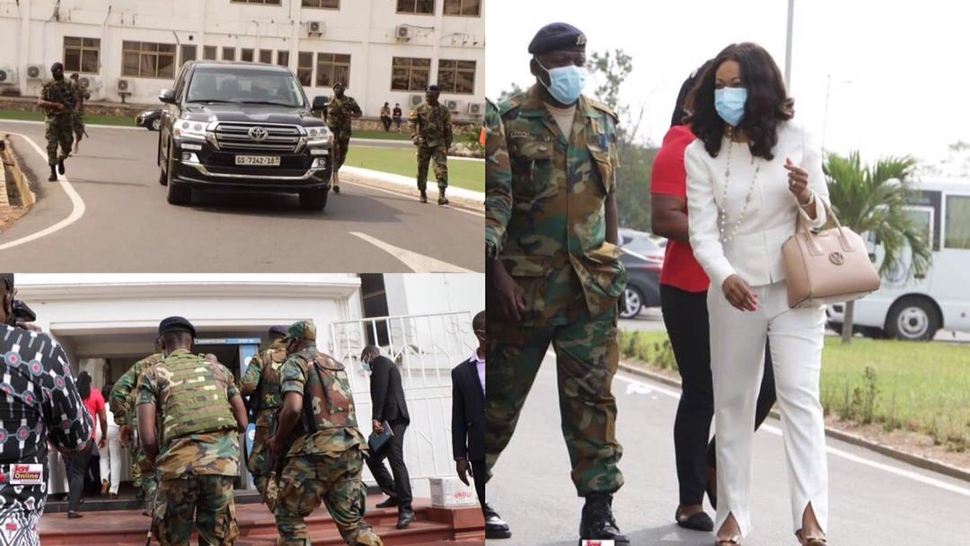 Ghanaians raises concerns over tight military and police security for Madam Jean Mensa at Supreme Court [Photos + Videos]