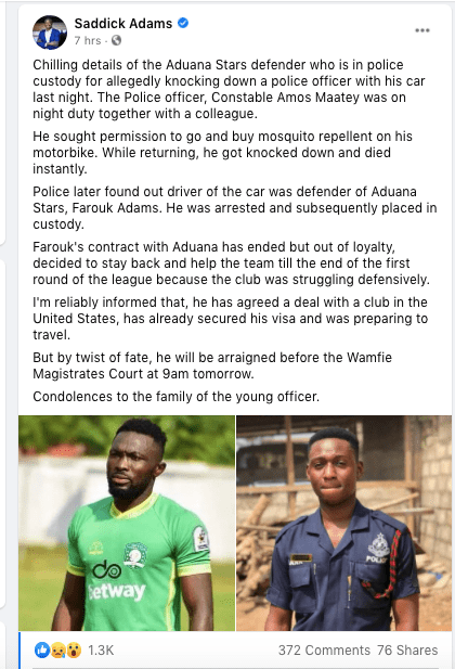 More details drop about the Aduana Stars player who has killed a police officer