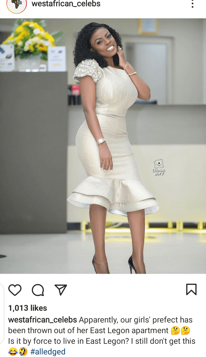 Screenshot 20210328 112637 Just In: Nana Aba Anamoah Allegedly Kicked Out Of Her apartment in east legon – Blogger Claims