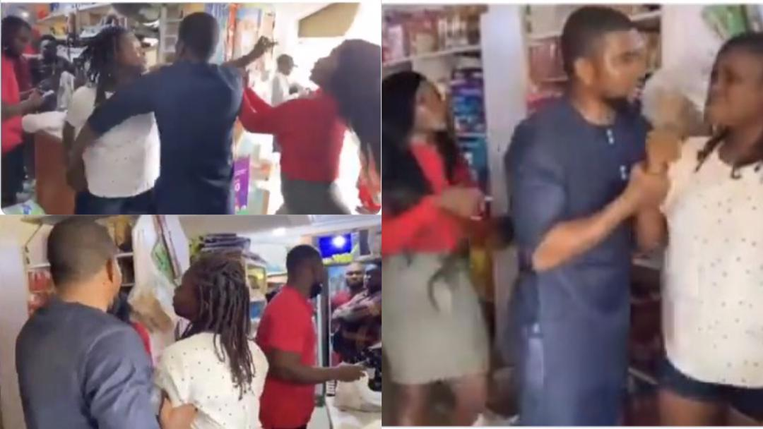 """""""You dey mad?"""" – Side chic attacks married man she is secretly dating while he was out shopping with wife [Video]"""