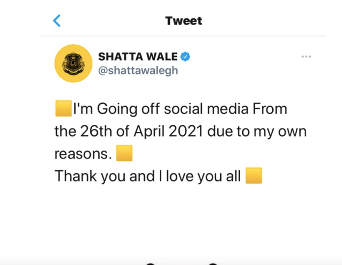 Shatta is to go off social media from April 26