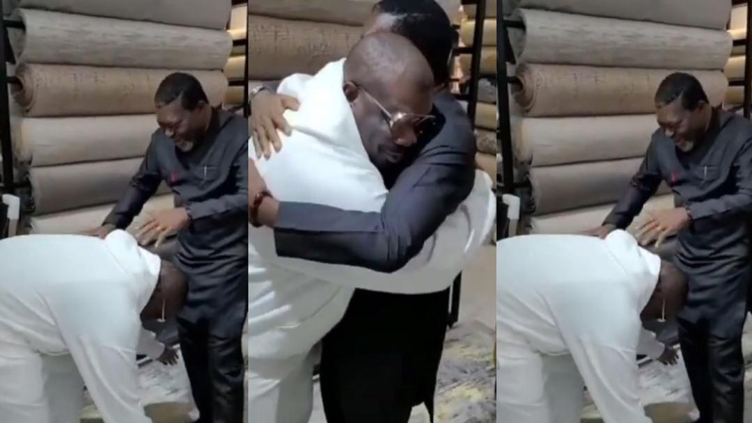 Moment Don Jazzy went down to greet Nollywood actor Kanayo O. Kanayo as the two meet for the first time [Video]