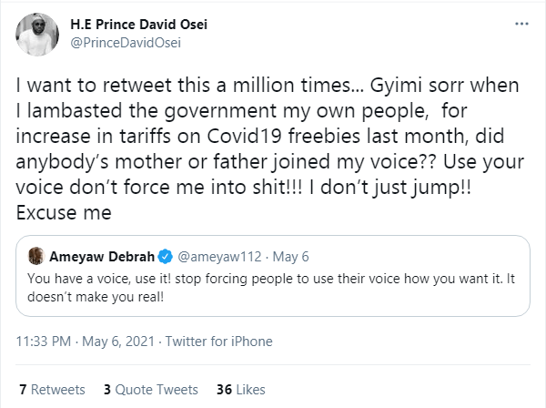 'Gyimi' don't force me to support your useless #FixTheCountry campaign – Prince David Osei