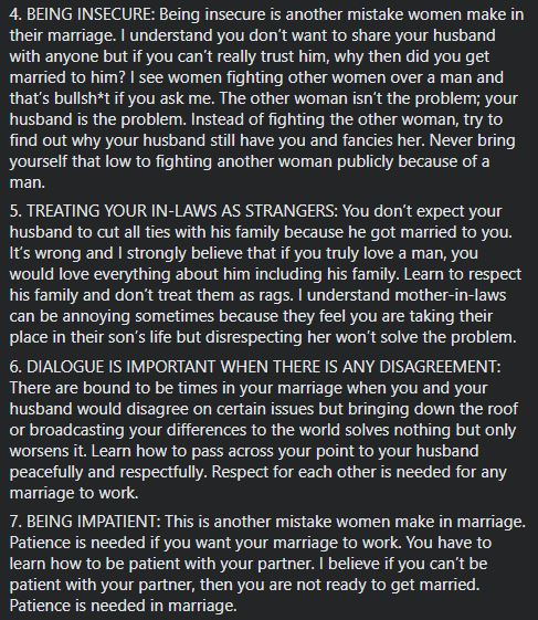 Relationship and Marriage expert outlines the 10 mistakes women make in marriage 3