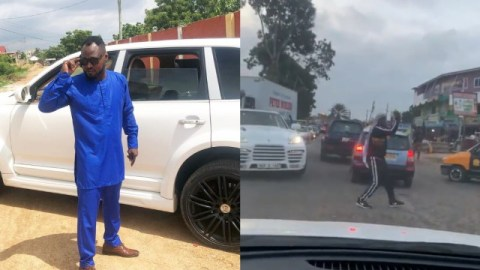 Funny Face turns Police, spotted directing traffic on the Odorkor-Kwashieman road (+Video)
