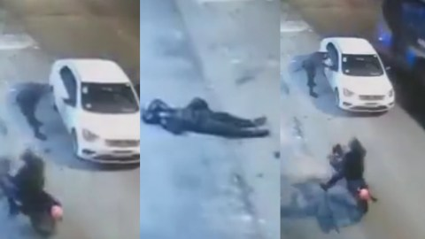 (+VIDEO) Highway Robbery Gone Wrong; Armed Robber Gets Shot While Trying To Steal A Car