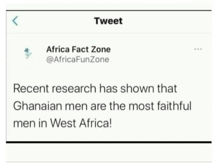 Ghanaian men are the most faithful men in West Africa