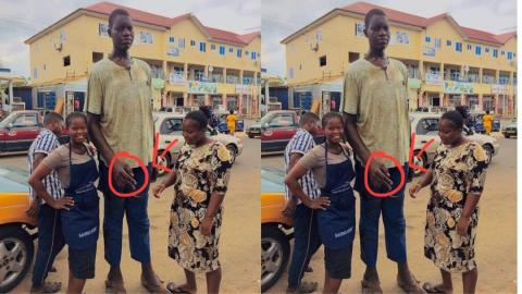 Meet Charles Sogli, the tallest man in Ho who dropped out of school because he could not get footwear for the size of his feet