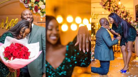 Nigerian actress Ini Dima-Okojie gets engaged to man she met on Instagram; recounts how it all started [Photos]