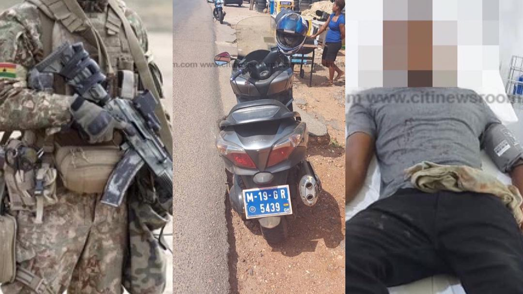 Accra: Motorcyclist shot by soldier in military pick-up vehicle at East Legon [Photos]