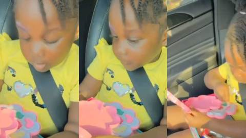 Video of Stonebwoy's daughter applying make up on her face whiles in a car pops up