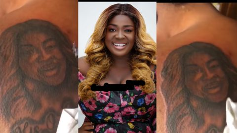 Die-Hard Fan Of Tracey Boakye Gets A Tattoo Of Her At His Back (video)