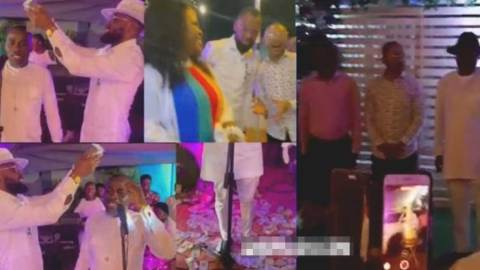 Obofour throws cash  in the air as he storms Owusu Bempah's Birthday party with wife (+Video)