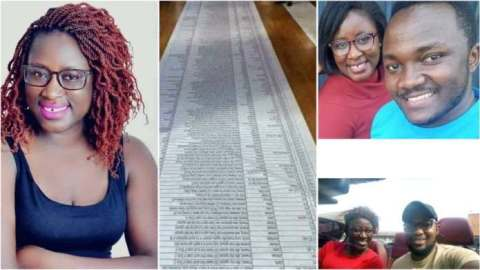 Days after threatening to drop list of 100 men she has slept and infected with HIV on Facebook, lady finally parades all men she has been with (Photos)