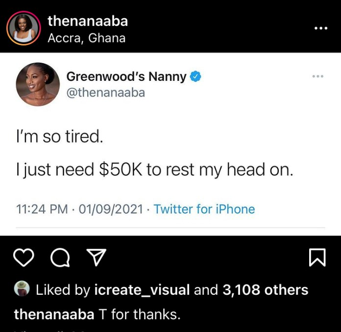 Nana Aba Anamoah Requests For ,000 To Rest Her Head On Because She Is Tired