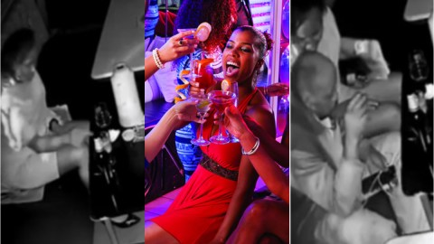 Fear woman: Moment CCTV exposes lady spiking a man's drink in a club and acting all innocent (Watch)