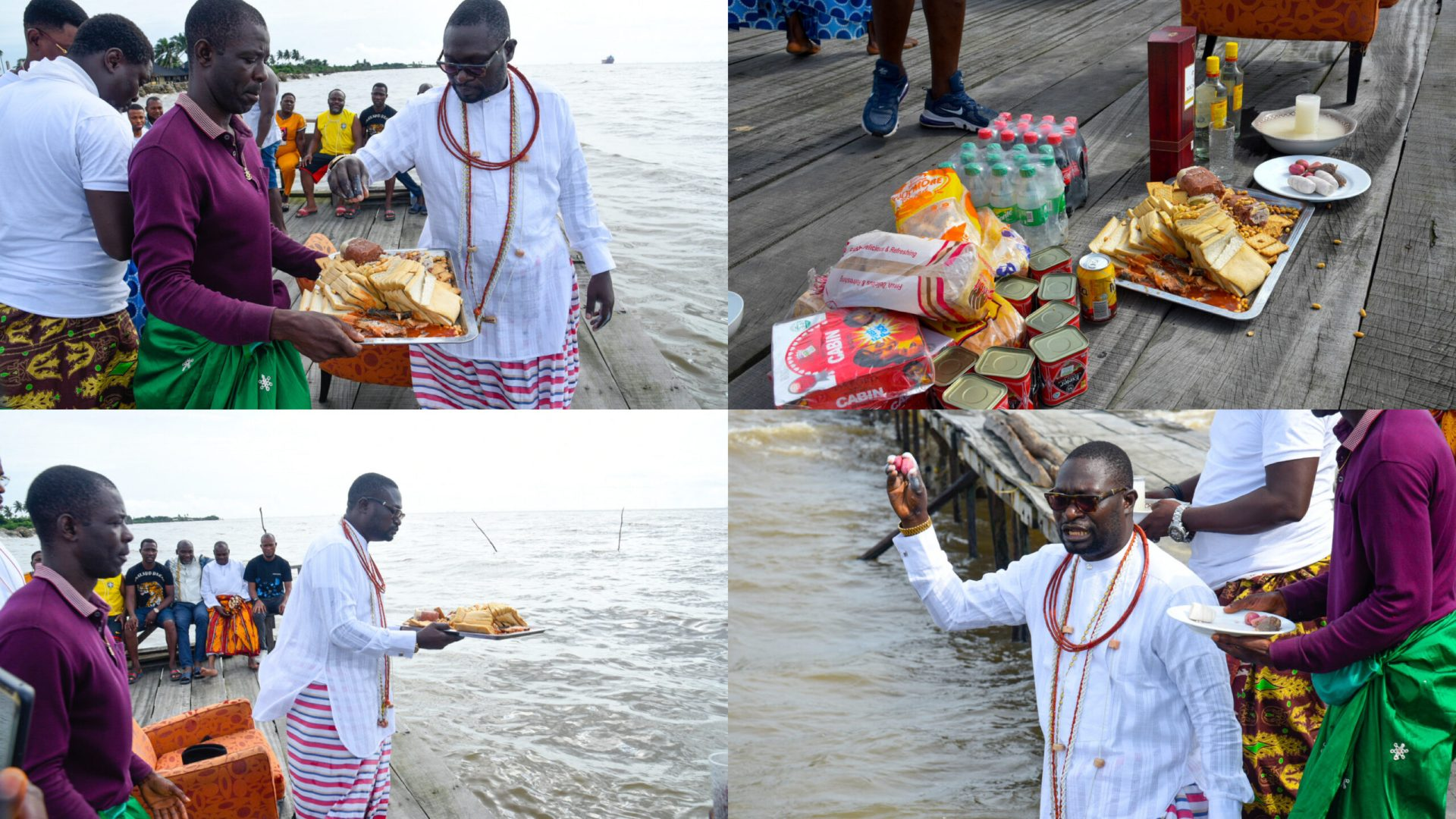 Nigerian billionaire visits river to present food and drinks to gods as ritual for losing traditional seat [Photos]