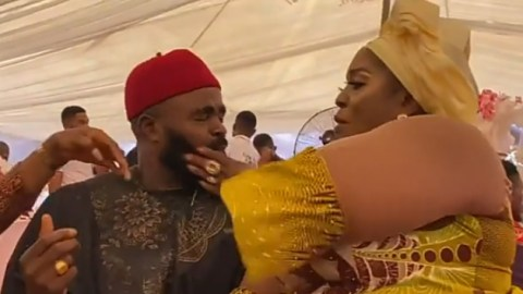 Actress, Rita Edochie Baptizes Chief Imo With Hot Slaps While Licking His Fingers In Public [Video]