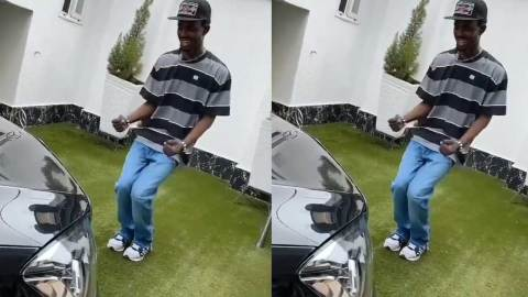 (+VIDEO) Black Sherif says bye to poverty as he chills with his brand new luxurious car