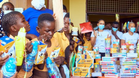 Mona4Reall Extends Kind Hands To Needy Pupils Who Couldn't Afford Pencils At Darko Yaw Bentum DA Basic School(+PHOTOS)
