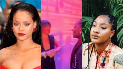 Few days after dining with rapper Drake, Nigerian singer meets Rihanna- watch how Riri screamed and hugged her warmly