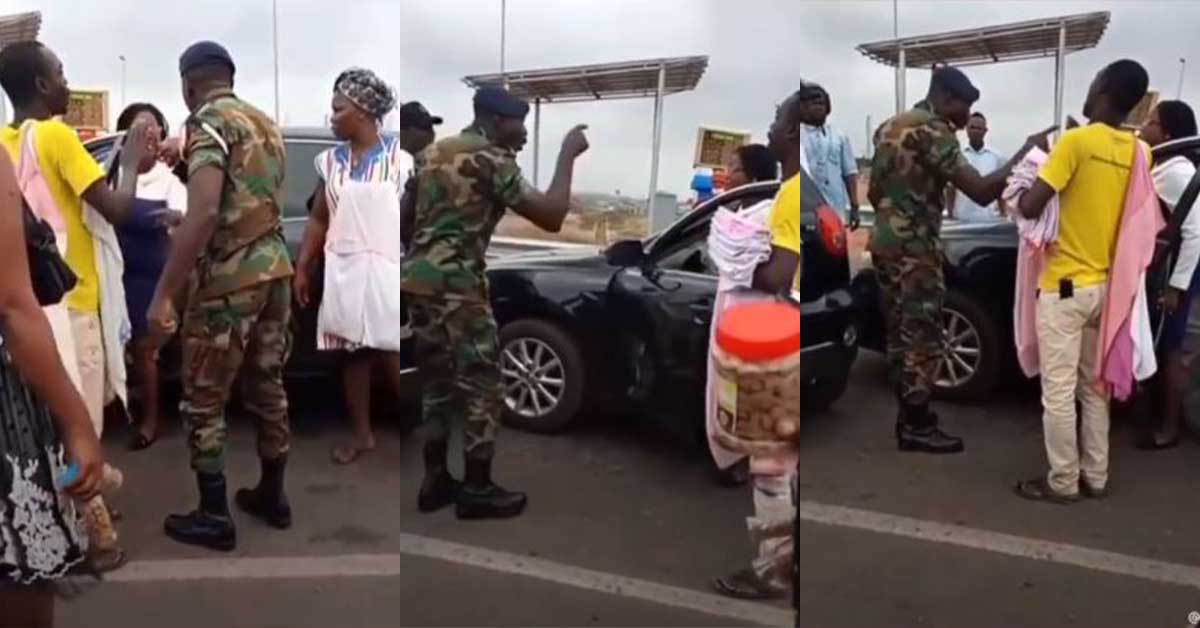 (+VIDEO) Woman boldly confronts Military man who seized her license in traffic for allegedly driving carelessly