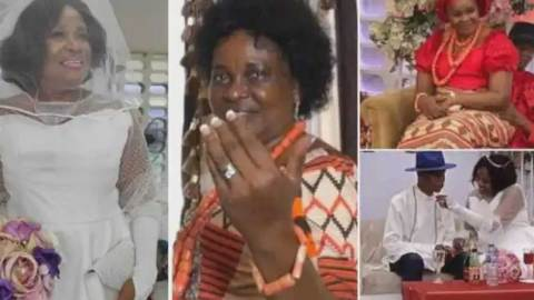 64-year-old woman jubilates as she marries for the first time in her life as a virgin