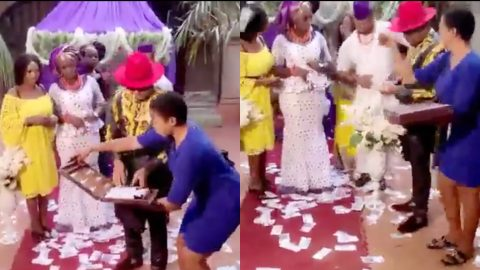 Now, I am rich – Bride left stunned after ex she left for being broke storms her wedding to spray cash [Video]