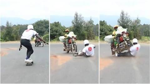 Scary moment Kenyan skater nearly dies in a freak accident after a head-on collision with motor rider, video drops