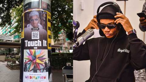 (+PHOTOS) Poster of KiDi's 'Touh It' hit song spotted on the streets of Barcelona