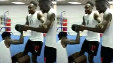 Black Stars players, Thomas Partey and Daniel Amartey square it off in the boxing ring ahead of World Cup qualifier against Zimbabwe (WAtch)