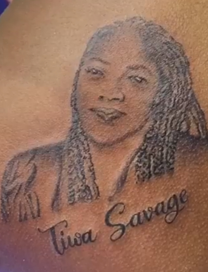 """""""This Format Don Cast"""", See Reactions After Tiwa Savage Praised Lady Who Tattooed Tiwa's Face At Her Back"""