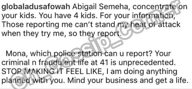 Adu Sarfowaa attacks Mona Gucci with photos of Mona and her family looking a little 'unkept'