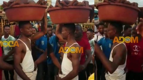 Eastern Region: Young man nearly beaten to a pulp for stealing 'wele' in the market (Watch)