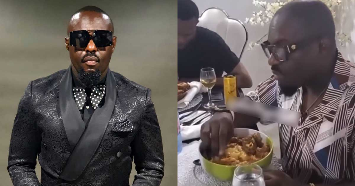 Nollywood actor Jim Iyke gets Ghanaians laughing as he struggles to eat 'Fufu'