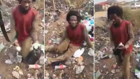 (+VIDEO) Man who fakes madness to collect used sanitary pads and diapers for ritual purposes caught