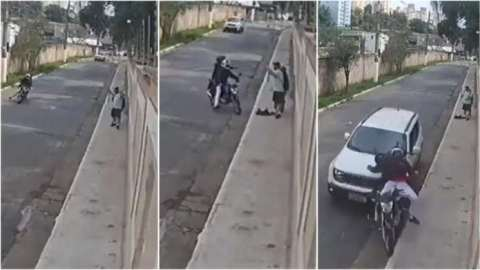 Bad day for armed robbers on motorbike as driver rams his car into them when they were robbing couple at gunpoint (Watch)