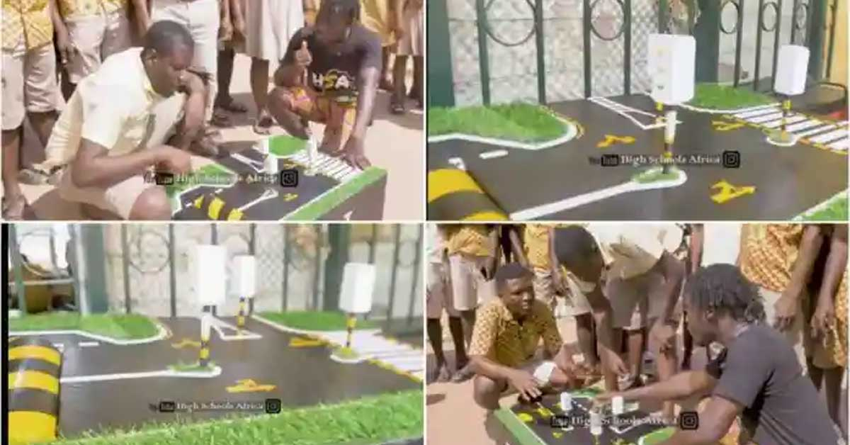 (+VIDEO) Takoradi Technical Institute students generate power for traffic lights and street lights using specially made speed ramps